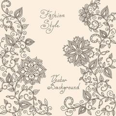 vector Henna mehndi floral pattern