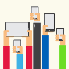 Hands raised holding smartphone and tablet flat design