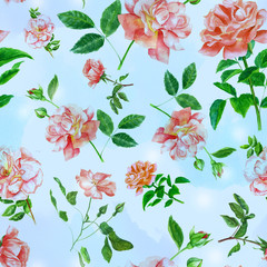 Vintage style watercolour roses seamless pattern