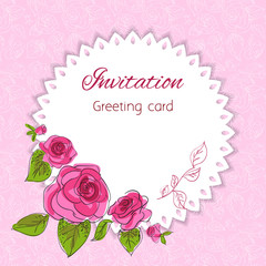 Romantic flower greeting card with roses and copy space