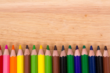 Row of pencils on the Board.