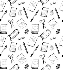 Seamless school pattern with notebooks, scissors, rubber, sharpe