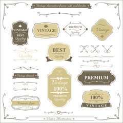 Collection of vintage frame border rule and design element