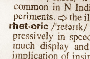 Dictionary definition of word rhetoric