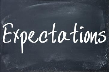 expectations word write on blackboard