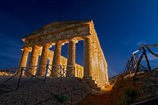 Segesta Temple By The Moolight