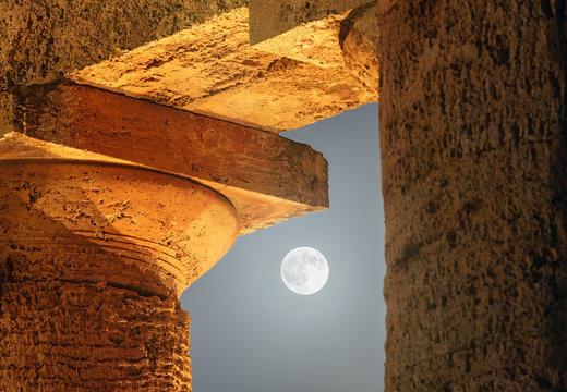 Moon Cross Among The Columns of Segesta Temple