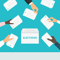 People hands holding ballot paper and putting them into ballot box. Elections and voting illustration