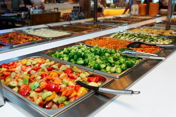 Vegetables and other foods in restaurant