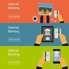Internet banking. Vector illustration in flat design for web sites, Infographic design