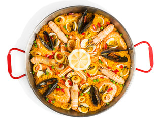 Spanish seafood paella, view from above