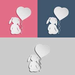 Rabbit child with heart balloon. Set of three emblem variations