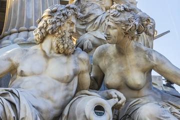 Athena Fountain near Austrian Parliament (1902). Vienna, Austria