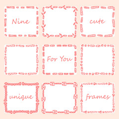 Set of nine square doodles frames.