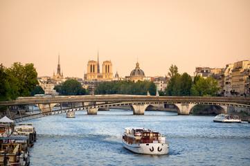 Seine River Bridges and Notre Dame Cathedral, Paris, France