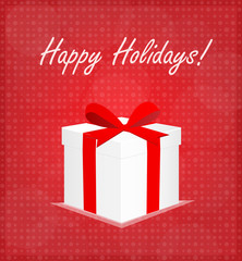 Happy Holidays Greeting Card Gift Box Red Background EPS 10