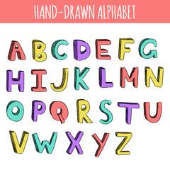 Hand drawn colorful english alphabet.