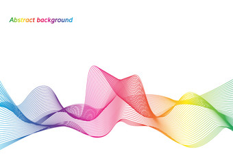 Abstract background with rainbow wave on white background