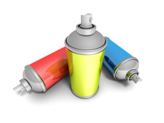 Colorful Spray Paint Cans On White Background