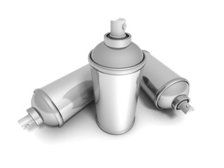Spray Paint Cans On White Background
