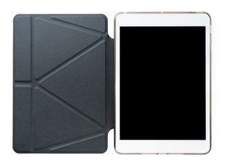 tablet with leather case