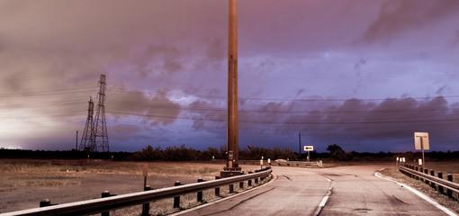 Deep South Thunderstorm Lightning Strike over Road Electrical St