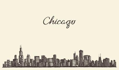 Chicago skyline city engraving vector illustration