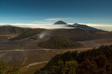 Active volcano at Mount Bromo in the early morning