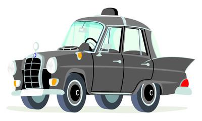 Caricatura Mercedes Benz W110-190D taxi Alemania negro vista frontal y lateral