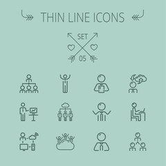 Business thin line icon set