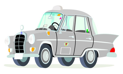 Caricatura Mercedes Benz W110-190D taxi Colombia gris vista frontal y lateral