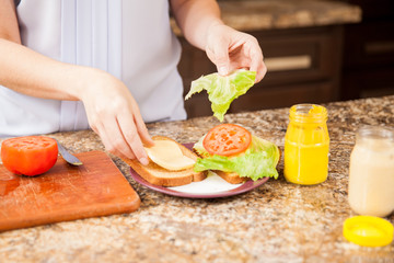 Making a sandwich at home