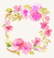 Watercolor wreath. Handmade. Illustration.