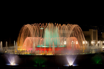 Autocollant pour porte Fontaine Magic Fountain by Night in Barcelona