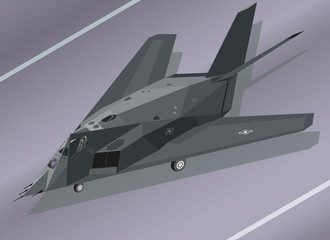 Detailed Isometric Illustration of an F-117 Nighthawk Stealth Fighter on the Ground
