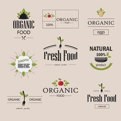 Organic natural food vector logotypes set. Labels and badges set