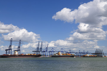 Container ships in Felixstowe port UK