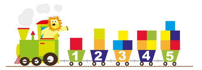 train with numbers and color blocks - vectors for children