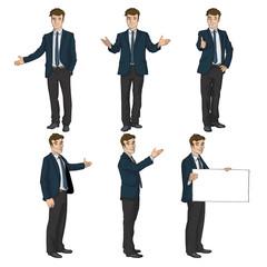Eine realistische Comicfigur in sechs unterschiedlichen Posen.