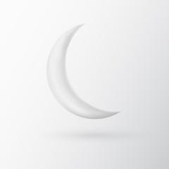 White vector 3d moon