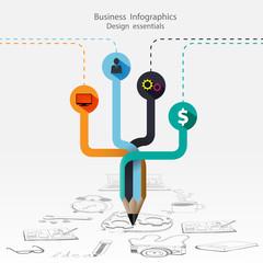 Infographic Design Template Arrow Pencil.