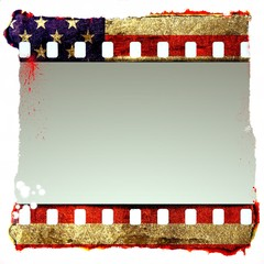 Grunge film strip frame with symbolic americans colors