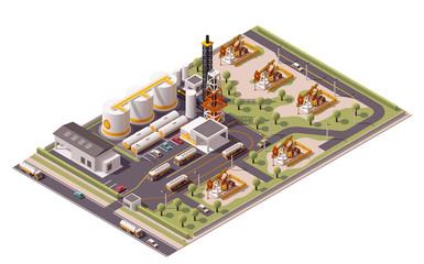 Vector isometric oil field icon