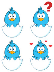 Cute Blue Bird Cartoon Character 1. Collection Set