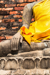 Hand of Buddha at Wat Yai Chaimongkol Temple Ayutthaya was the o