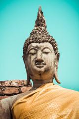 Buddha Statue Portrait Wat Yai Chai Mongkhon Ayutthaya Bangkok