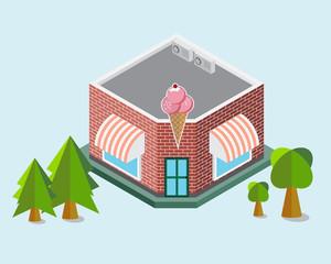 Ice cream Shop Isometric Building Element