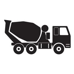 Concrete mixer truck. Black silhouette on white background.