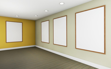 Art Gallery Perspective and Picture Frame wall monocom color  yellow