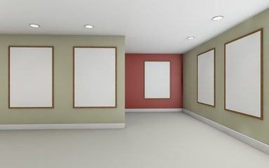 Art Gallery perspective one point and Picture Frame color Rad